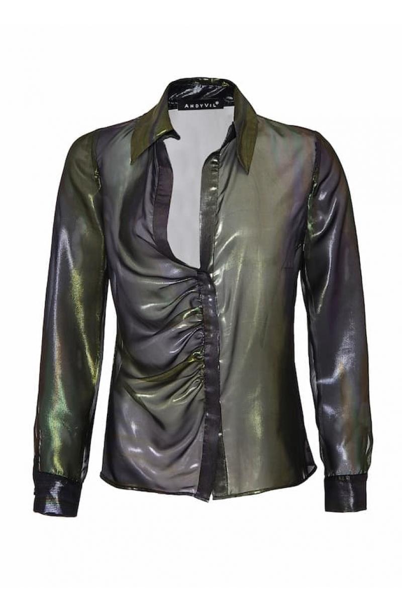 Black shiny chiffon asymmetrical shirt