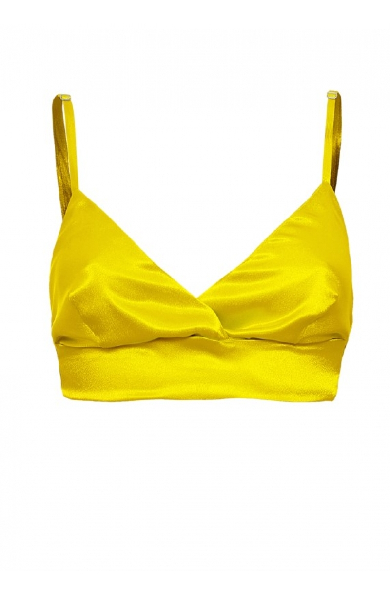 Soft satin triangle cup bralette in yellow
