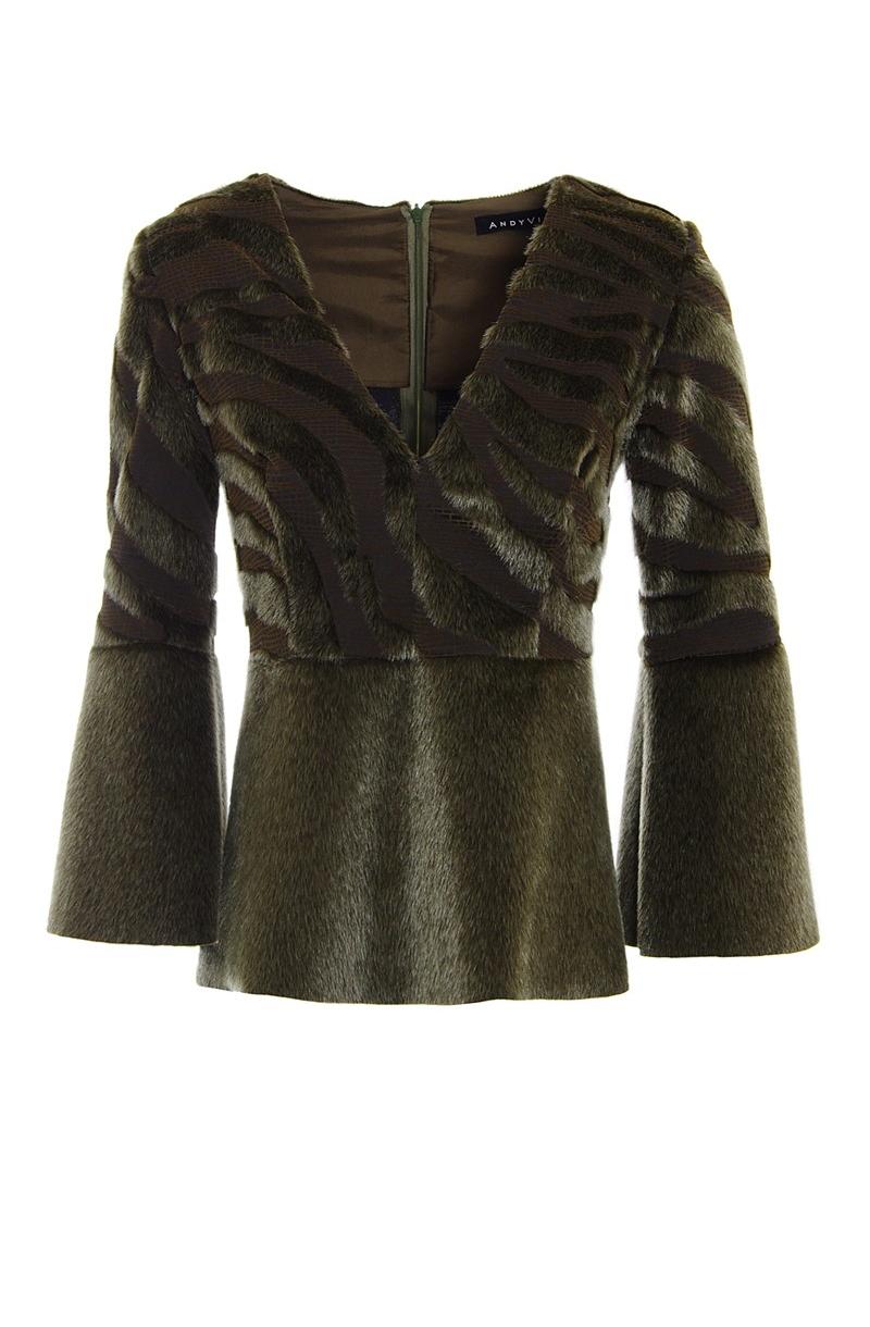 V- neck faux fur blouse