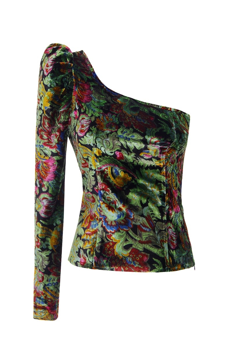 Printed velvet blouse with one sleeve