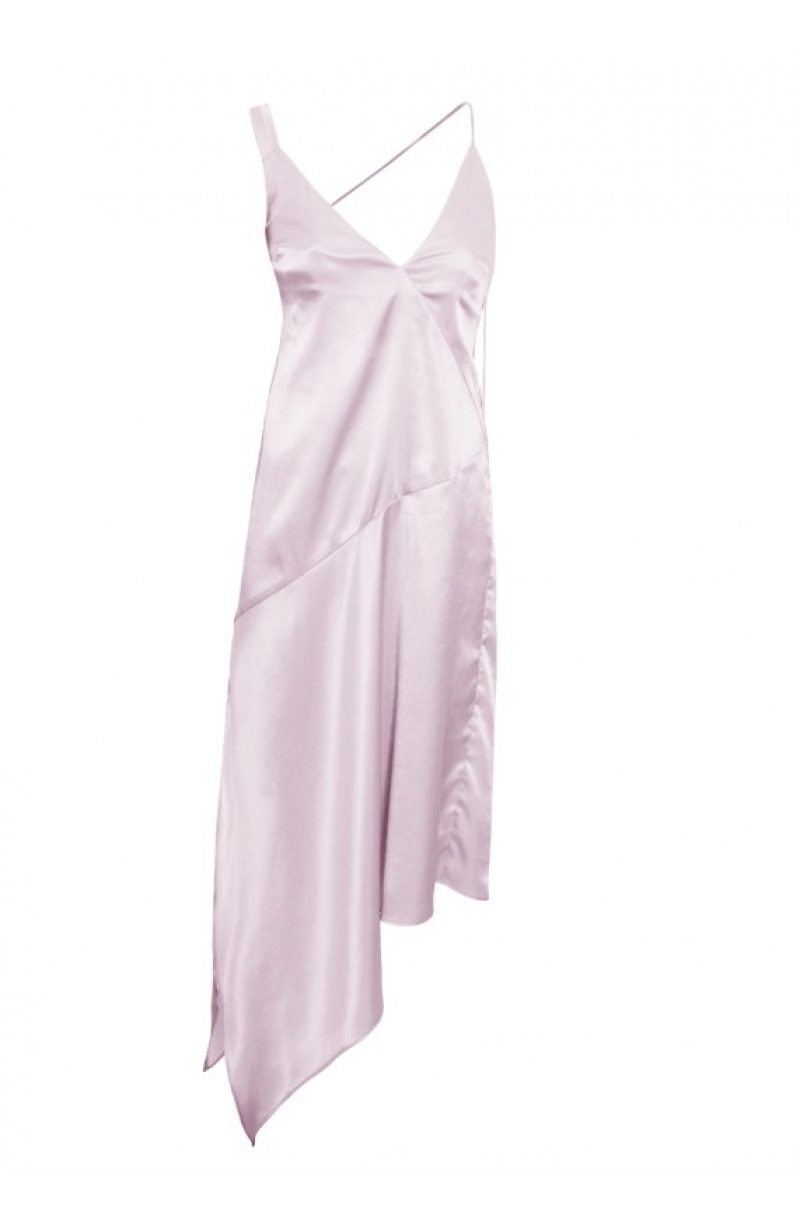 Silver asymmetrical satin dress