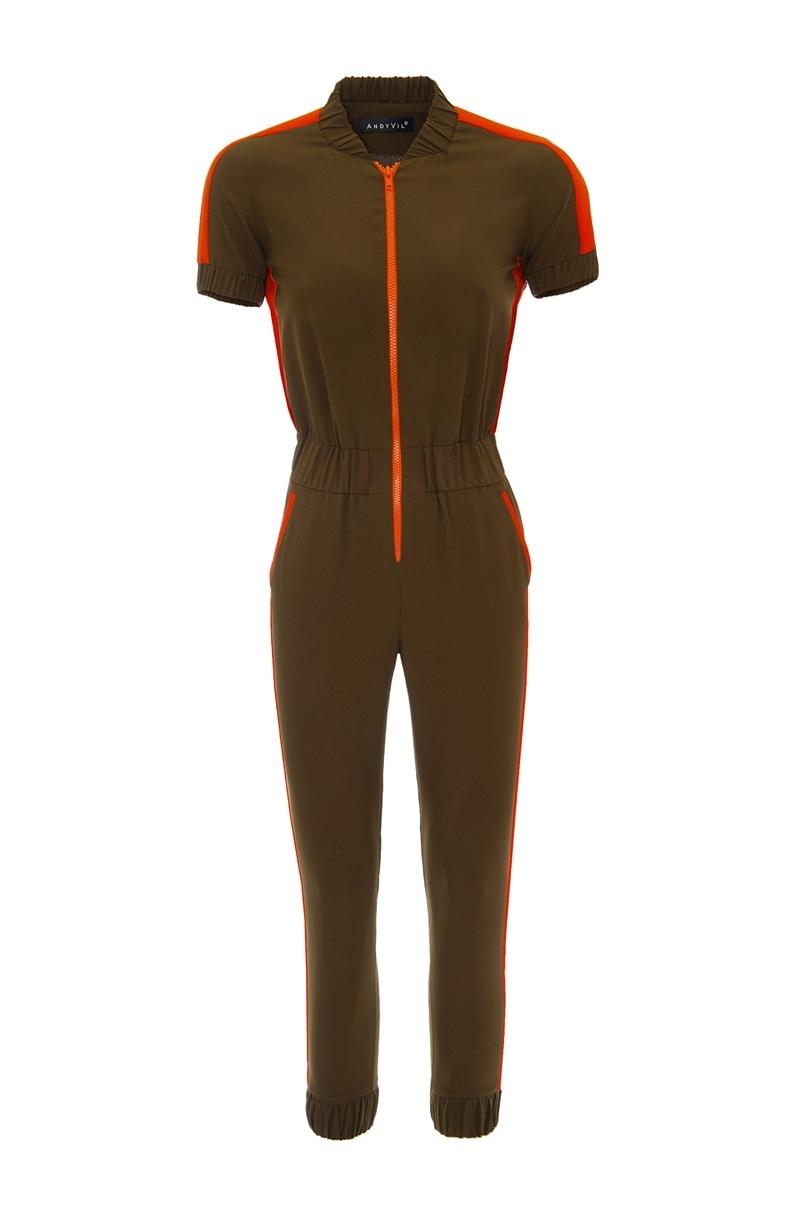 Viscous Jumpsuit with details and plastic zipper