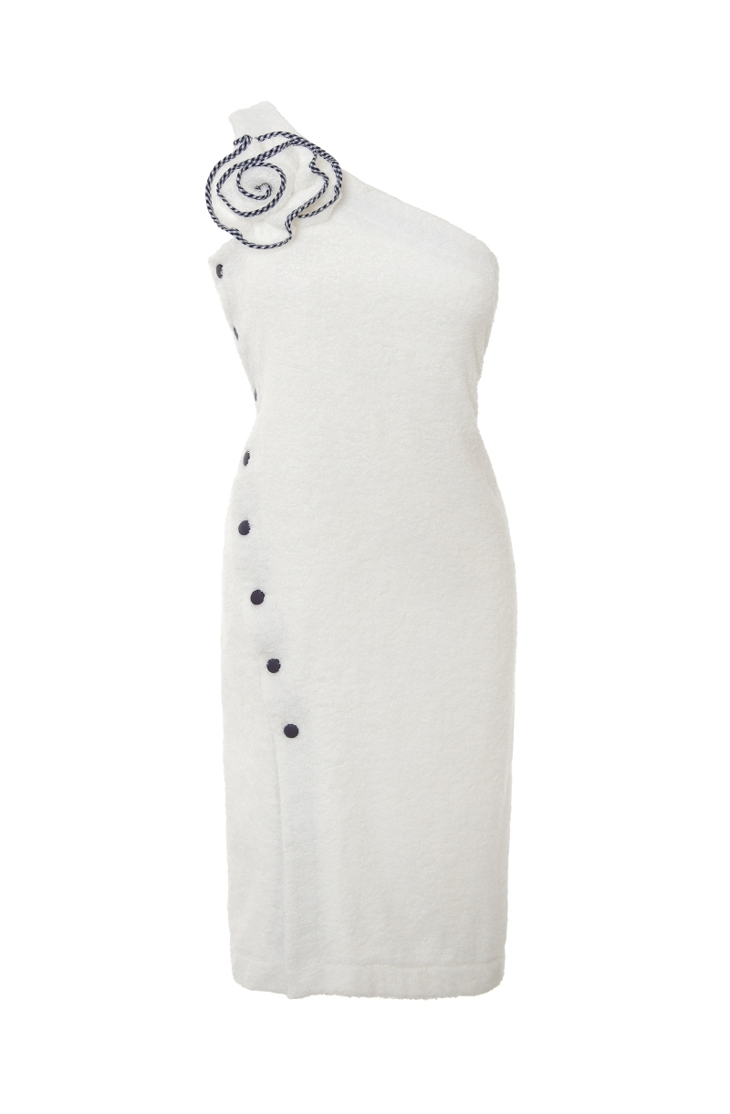 Terry cloth asymmetrical dress in white
